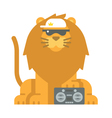 Flat design cool lion vector image