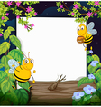 Honey bees and a white board vector image