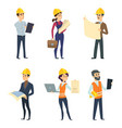 male and female workers of engineers and other vector image