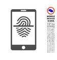 smartphone fingerprint scanner icon with set vector image
