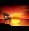 Sunset background palm tree vector image