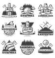Lumberjack Monochrome Labels Set vector image
