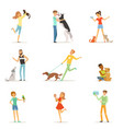 happy people having fun with pets man and women vector image