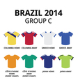 World Cup Brazil 2014 - group C teams football vector image vector image