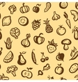 flat design fruits and vegetables pattern vector image