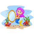 Cartoon funny mermaid holding a classic mirror vector image vector image