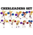 Cheerleaders with pompom jumping up and down vector image