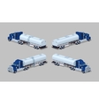 Dark-blue heavy truck with silver tank-trailer vector image