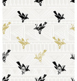 seamless pattern linocut style with birds and vector image