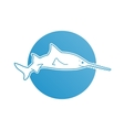 Blue flat logo sawfish for company and business vector image