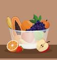bowl fruit fresh organic vector image