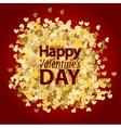 Golden glitter heart red background vector image