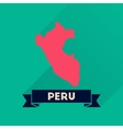 Flat icon with long shadow Peru map vector image