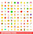 100 winning icons set cartoon style vector image
