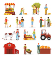 1607i118013Pm005c23autumn harvest farm people set vector image