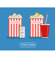 Popcorn food Popcorn in bucket Big popcorn box vector image
