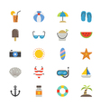 Summer Relax and Beach Flat Icons color vector image