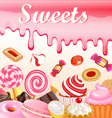 Sweet dessert food frame background glaze stains vector image vector image