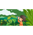 Boy in a forest vector image vector image