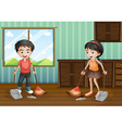 Boy and girl sweeping the floor vector image