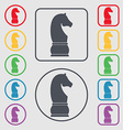 Chess knight icon sign symbol on the Round and vector image