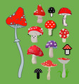 style of amanita mushrooms dangerous set vector image