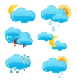 web and glass weather symbols set vector image