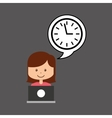 support assitance concept girl with clock time vector image