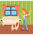 Dog training concept Flat design Woman vector image
