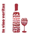 wine bottle and glass in typography style vector image