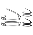 open and closed safety pin vector image
