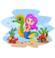 Cartoon cute mermaid riding seahorse accompanied vector image vector image
