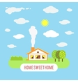 Village cozy cottage with trees isolated on blue vector image vector image