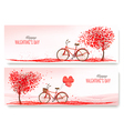 Valentines Day banners with a heart shaped tree vector image vector image