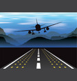 an airplane taking off at sunset in the mountains vector image