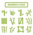 Bamboo stalks and leaves icons Asian bambu vector image