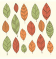 beautiful set of doodle vintage leaves isolated vector image