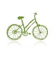 Bicycle green sketch for your design vector image
