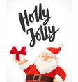 christmas card holly jolly hand drawn text funny vector image