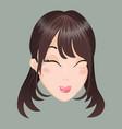 emoticon asia girl delight vector image