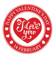 Greeting card rubber stamp Happy Valentines Day vector image
