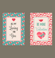 holiday cards with elements for valentines day vector image