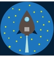 Rocket flat blue colors vector image