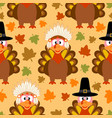 thanksgiving seamless background with funny turkey vector image