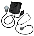 The stethoscope and pressure gauge device on white vector image