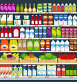 store shelves with groceries background vector image