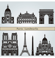Paris landmarks and monuments vector image vector image