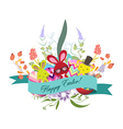floral easter eggs with bunny vector image vector image