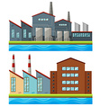Factory buildings with tall chimneys vector image