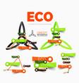 diagram elements set of eco windmill vector image